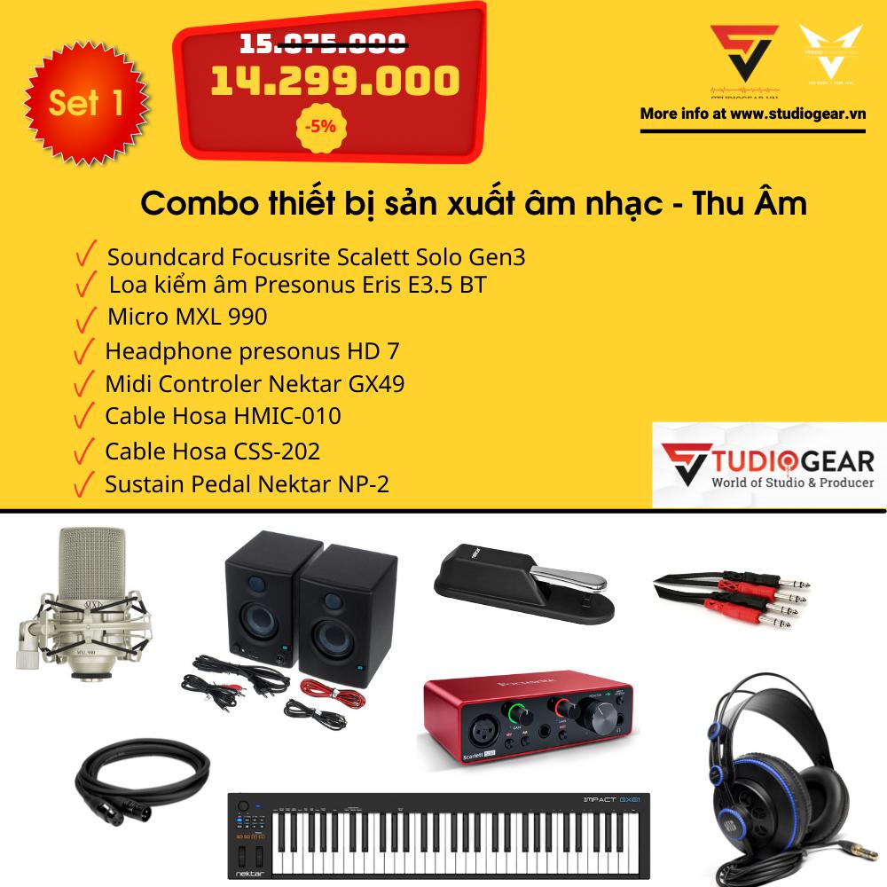 Combo thiết bị sản xuất âm nhạc - Thu Âm Set Studiogear 1